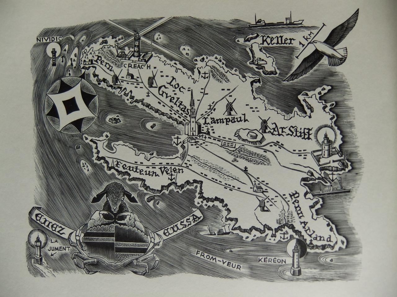 Carte de l'ile d'Ouessant par Jean Chieze