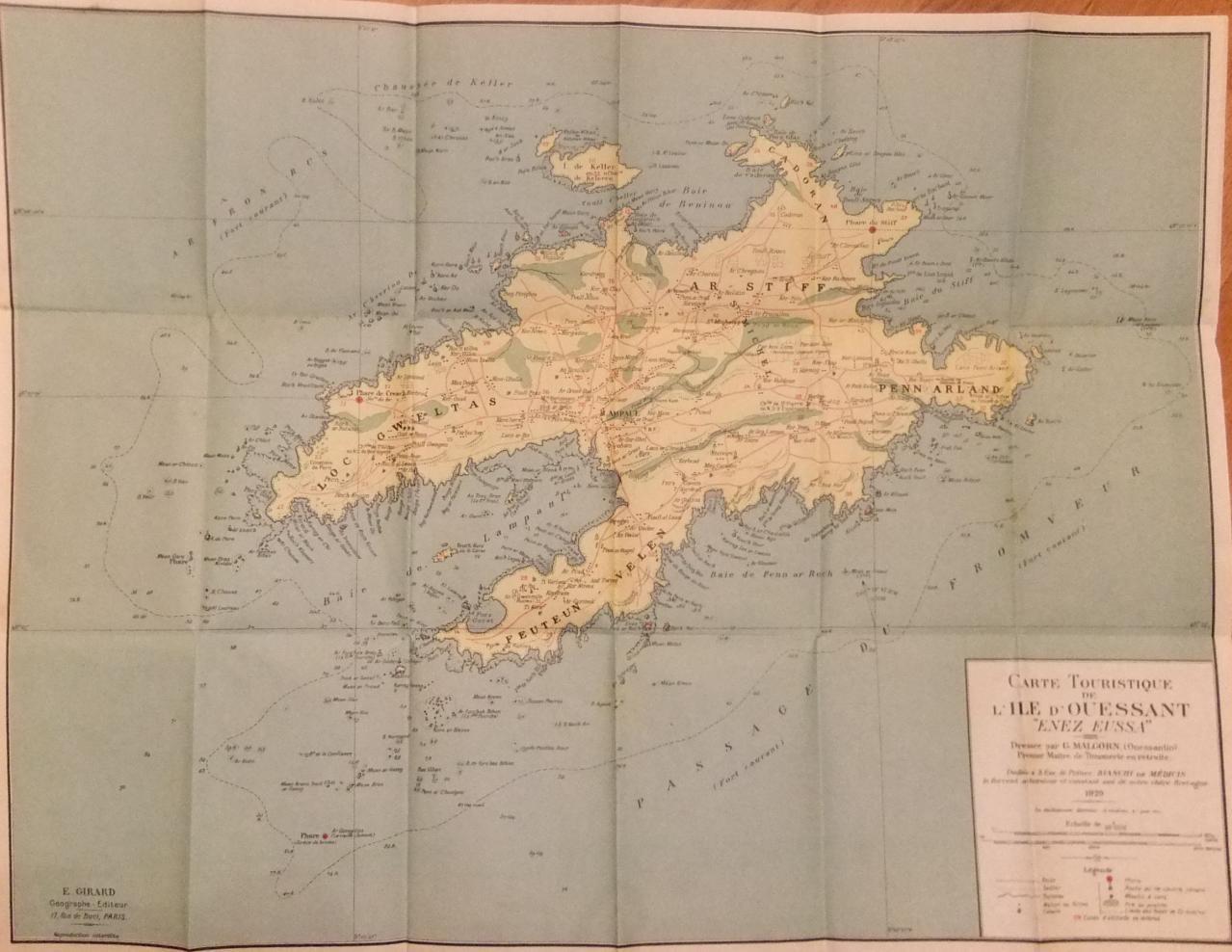 Carte touristique et guide de l'ile d'Ouessant 1932 Malgorn