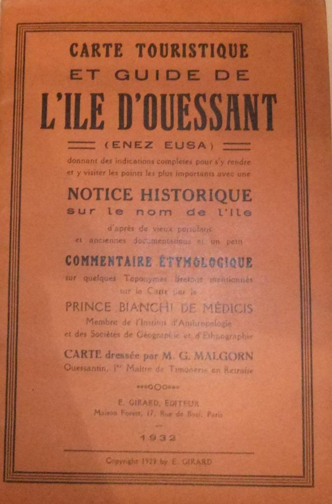 Carte touristique et guide de l'ile d'Ouessant 1932