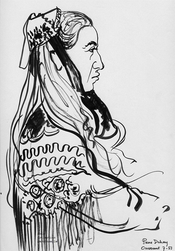 Dehay encre de chine au pinceau 310 x 230 juillet 1951 etude d une ouessantine en coiffe et chale filles de la pluie claire de frugulou page 218