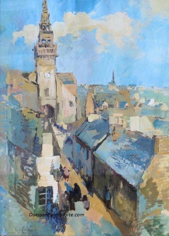 Lucien Delpy 75x64 l'église de Lampaul sous le soleil bourg d'Ouessant