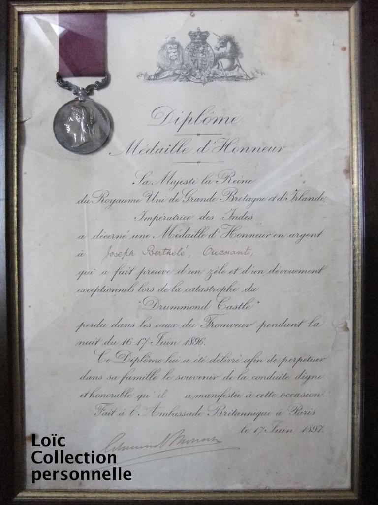 Diplôme et médaille de Joseph Berthelé Ouessant Drummond Castle