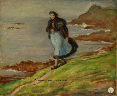 Mahonri woman walking along ocean cliff 1930 ca hsp 22x27