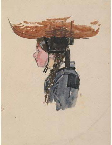 Meheut Ouessantine portant panier