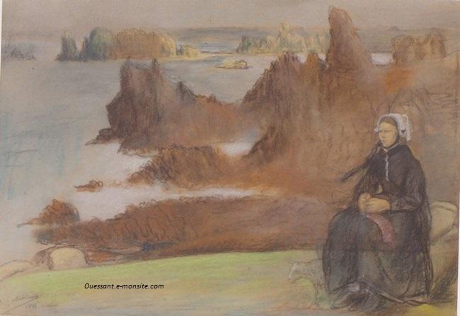 Milcendeau Charles Les falaises d'Ouessant 1898
