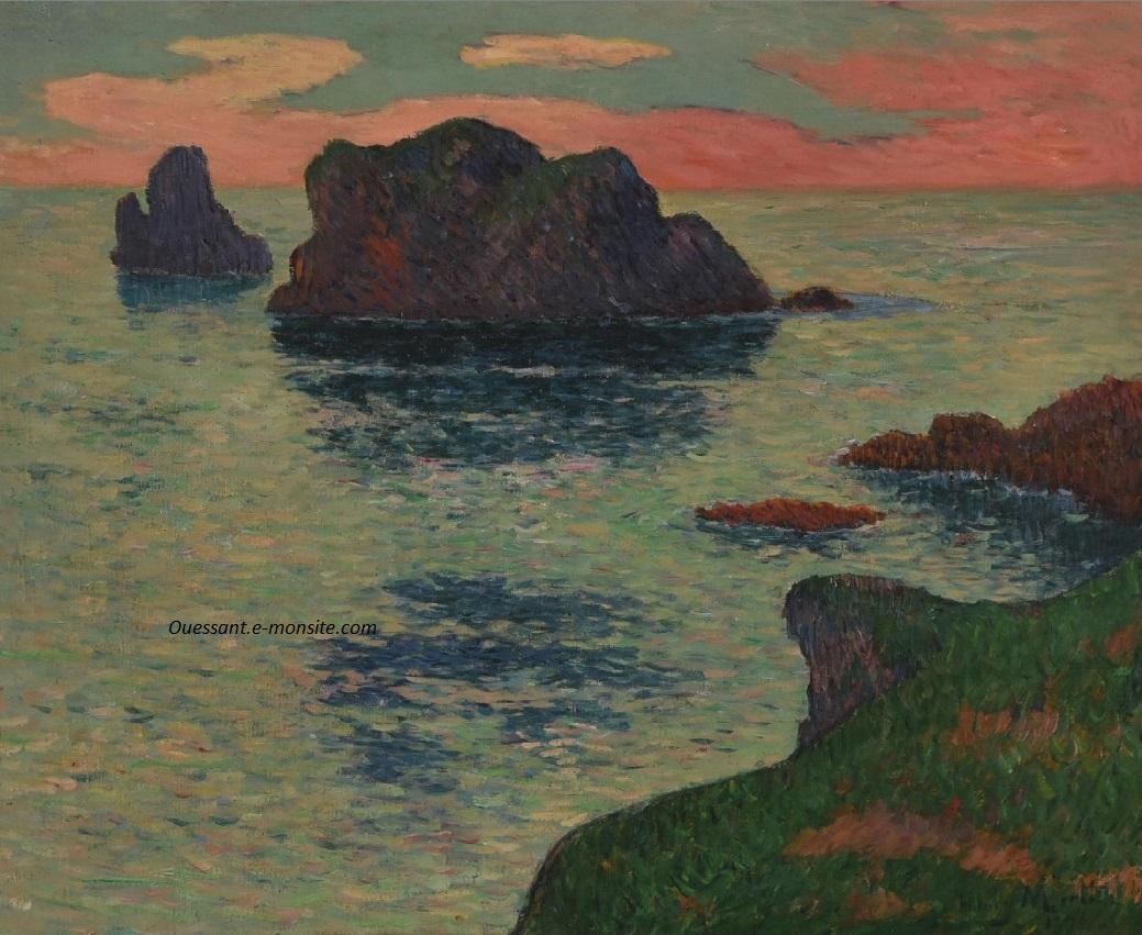Moret ouessant ciel rose hst 1895 60x73