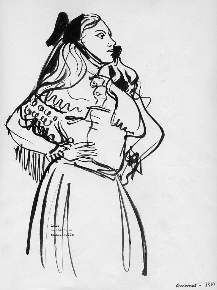 Pierre dehay encre de chine au pinceau 310 x 230 1951 non signee etude de costume filles de la pluie encre de chine 310 x 230 1951